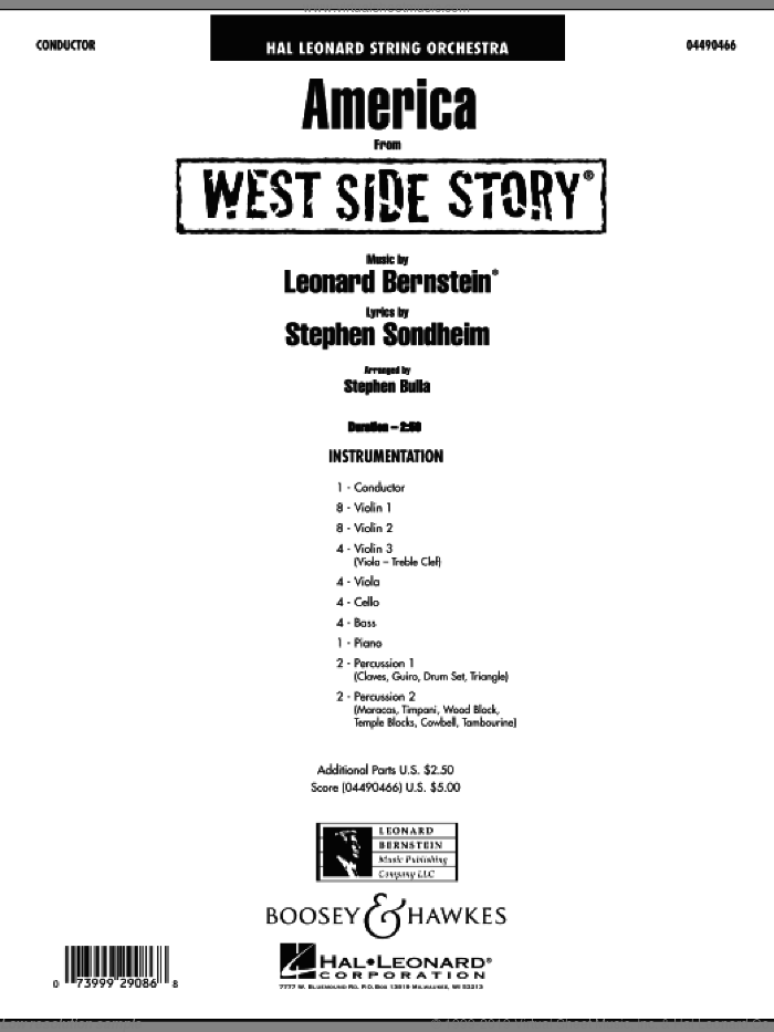 America (from West Side Story) (COMPLETE) sheet music for orchestra by Stephen Sondheim, Leonard Bernstein and Stephen Bulla. Score Image Preview.