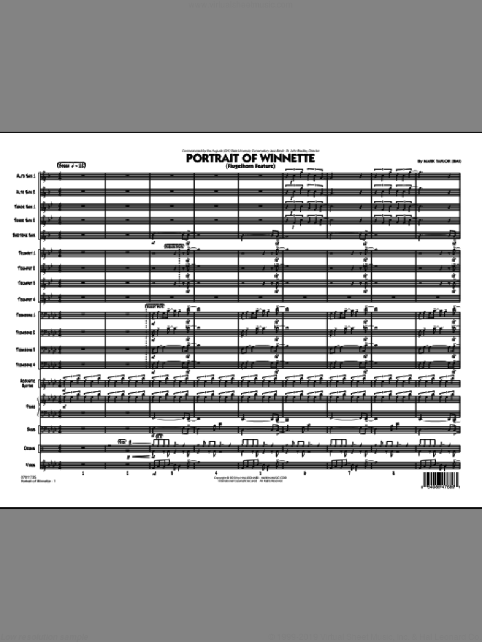 Portrait Of Winnette sheet music for jazz band (full score) by Mark Taylor