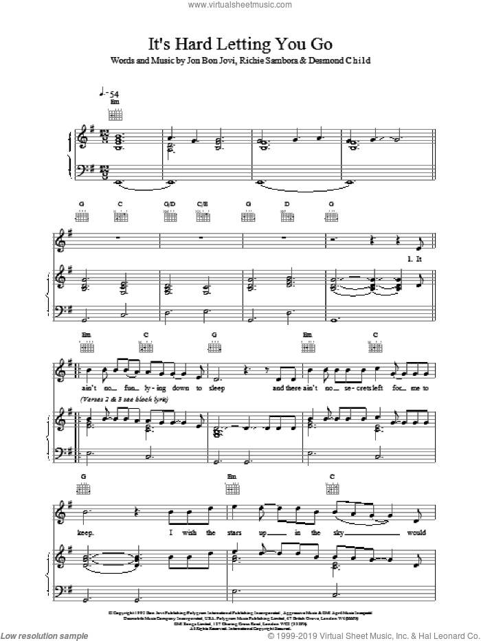 It's Hard Letting You Go sheet music for voice, piano or guitar by Bon Jovi. Score Image Preview.