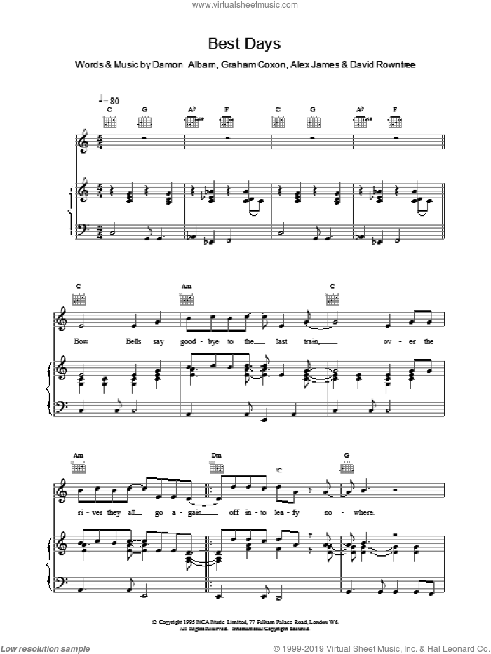 Best Days sheet music for voice, piano or guitar by Blur and Alex James. Score Image Preview.