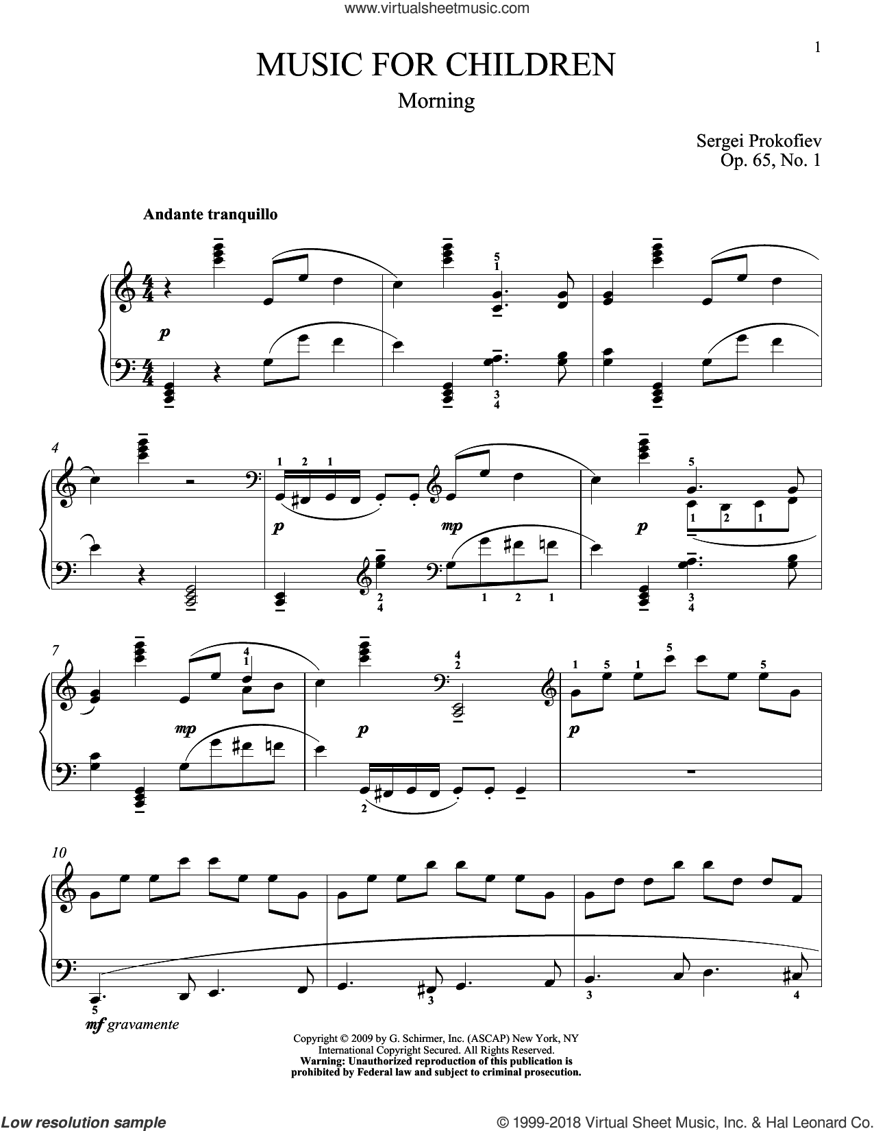 Morning sheet music for piano solo by Sergei Prokofiev, Jeffrey Biegel and Matthew Edwards, classical score, intermediate skill level