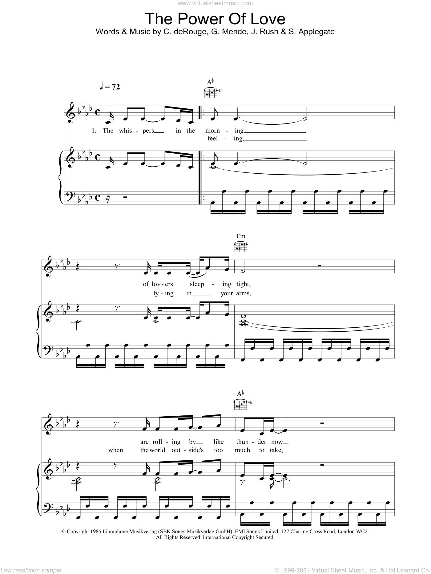 The Power Of Love sheet music for voice, piano or guitar by Celine Dion, Candy Derouge, David Foster, Gunther Mende, Jennifer Rush and Mary Susan Applegate, wedding score, intermediate skill level