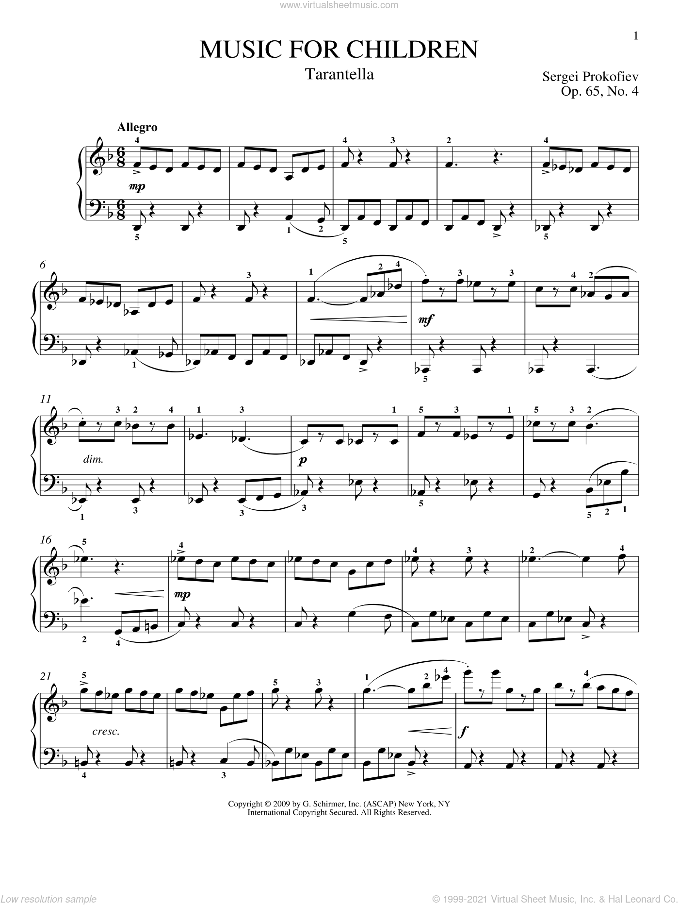 Tarantella sheet music for piano solo by Sergei Prokofiev, Jeffrey Biegel and Matthew Edwards, classical score, intermediate skill level