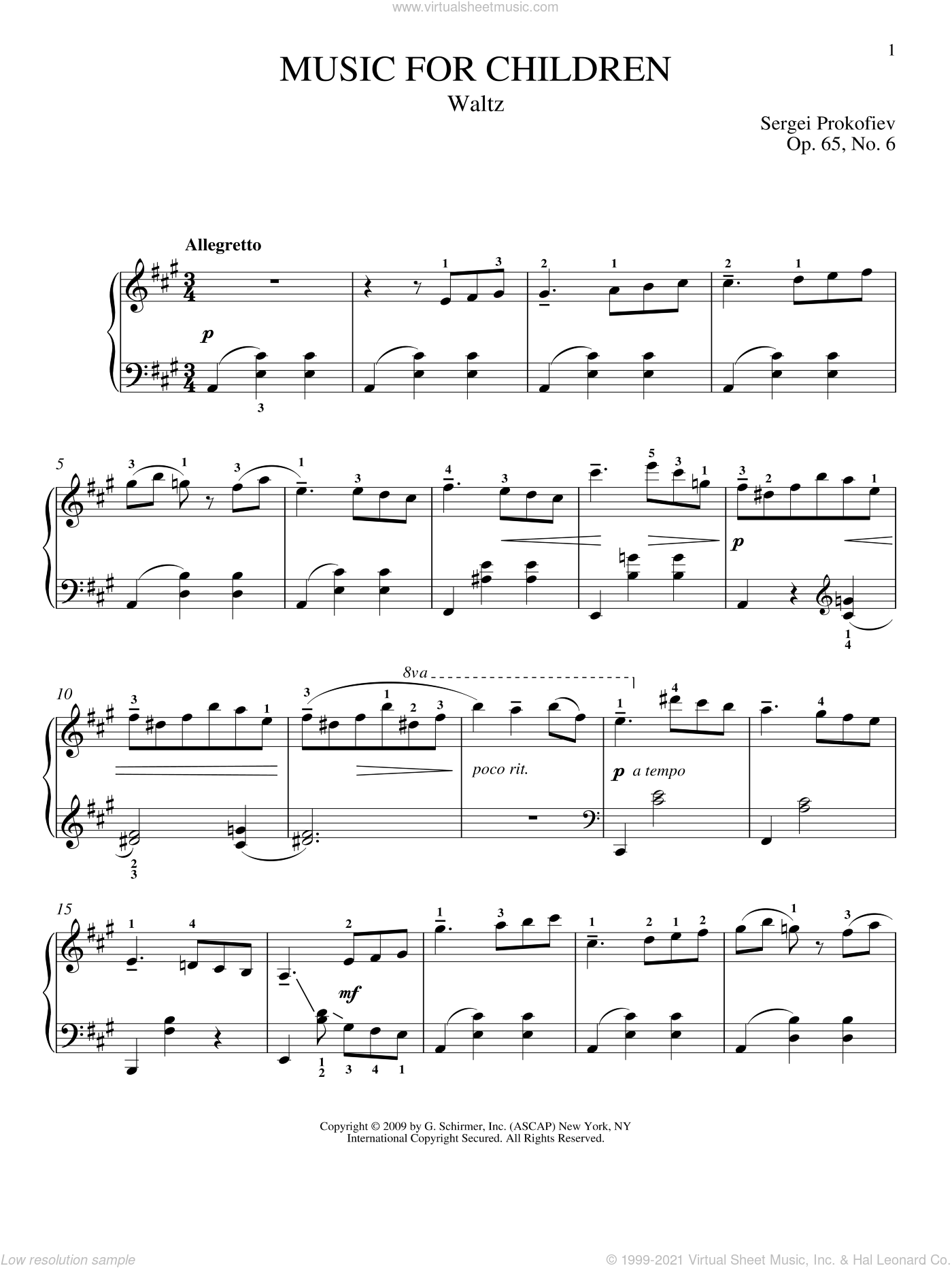 Waltz sheet music for piano solo by Sergei Prokofiev, Jeffrey Biegel and Matthew Edwards, classical score, intermediate