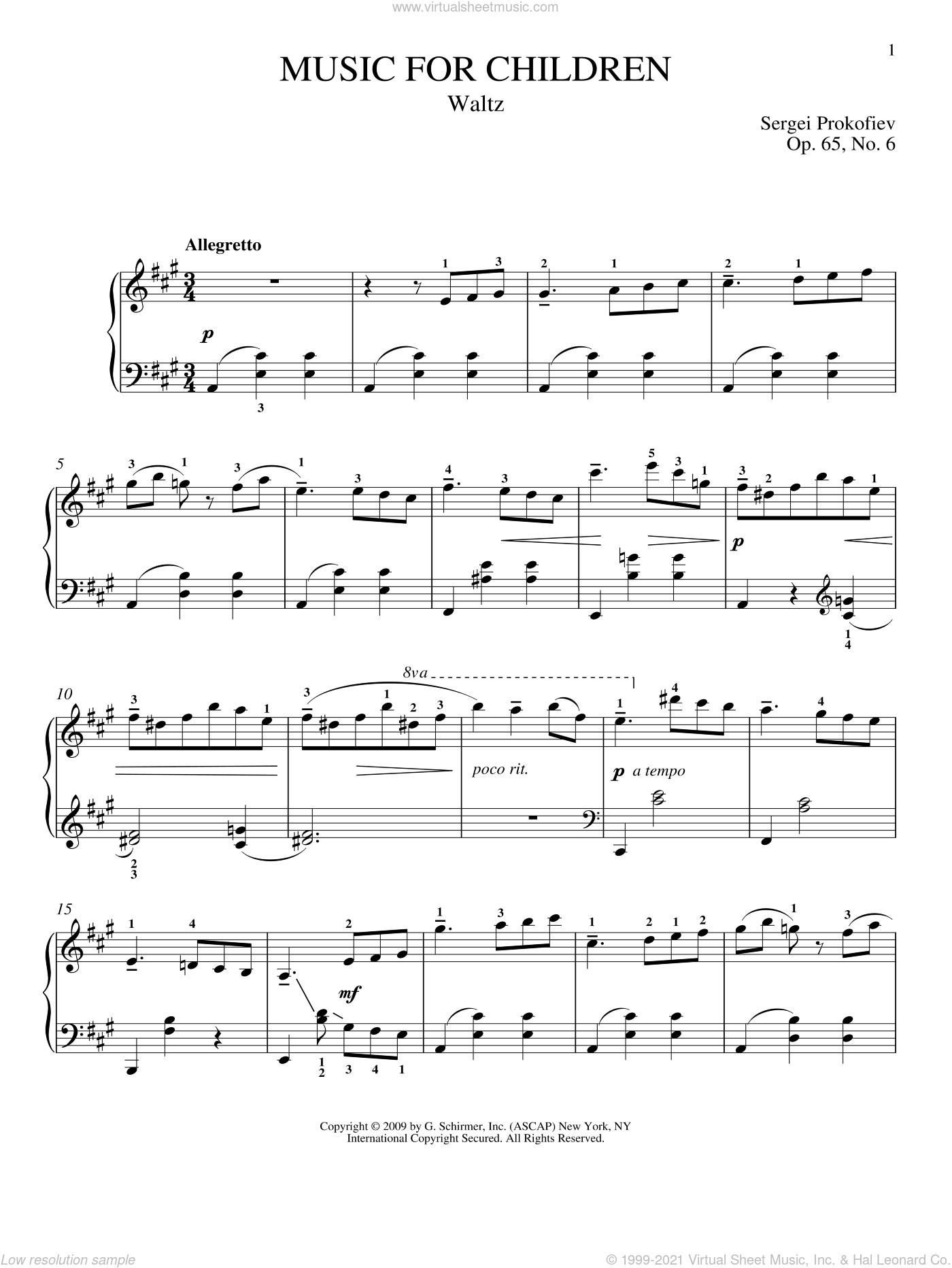 Waltz sheet music for piano solo by Sergei Prokofiev, Jeffrey Biegel and Matthew Edwards, classical score, intermediate skill level
