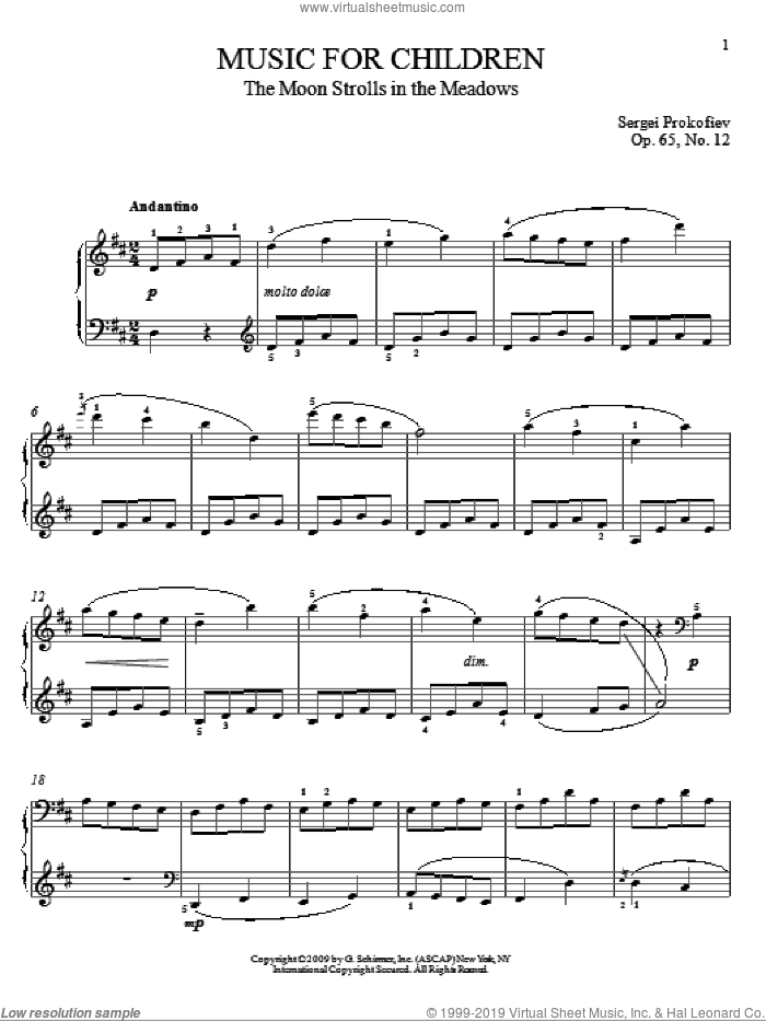 The Moon Strolls In The Meadows sheet music for piano solo by Sergei Prokofiev and Matthew Edwards, classical score, intermediate piano. Score Image Preview.