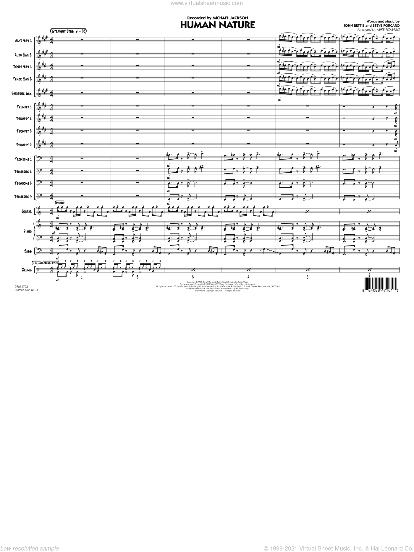 Human Nature sheet music for jazz band (full score) by John Bettis