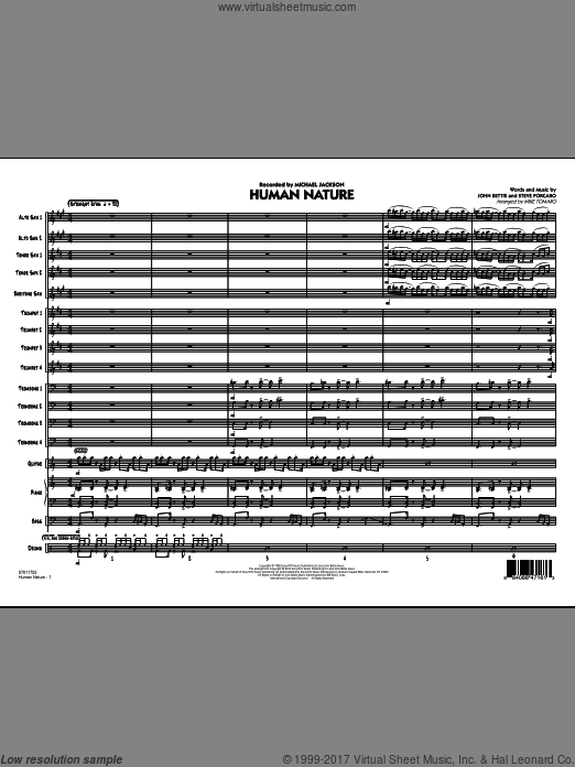 Human Nature (COMPLETE) sheet music for jazz band by John Bettis