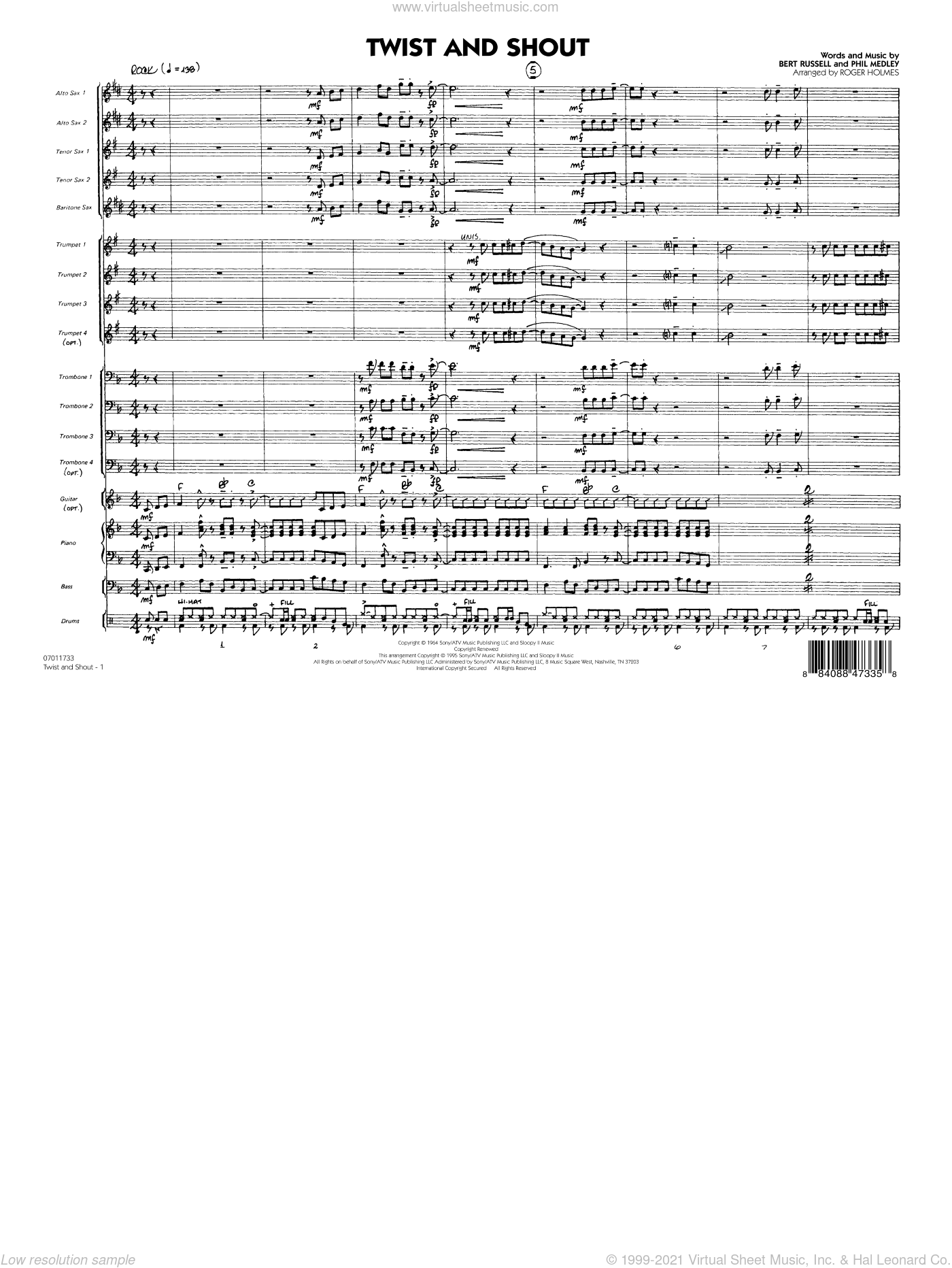 Twist And Shout sheet music for jazz band (full score) by Bert Russell