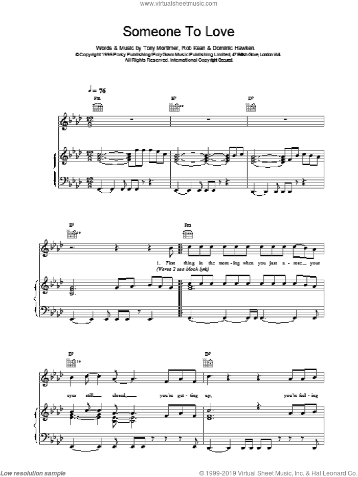 Somebody To Love sheet music for voice, piano or guitar by East 17, KEAN And HAWKEN and Tony Mortimer, intermediate. Score Image Preview.