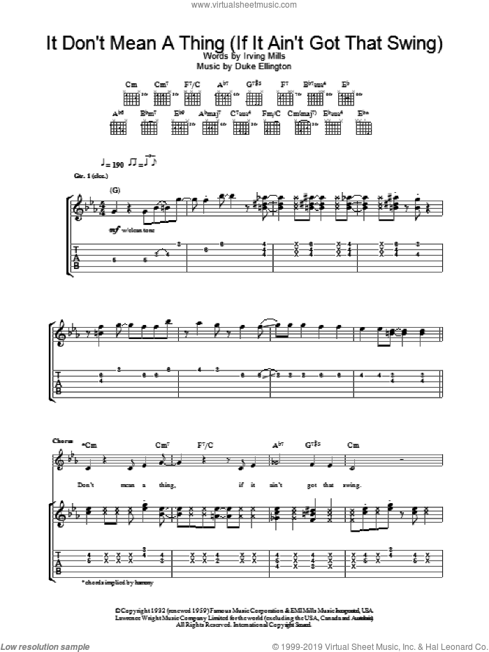 It Don't Mean A Thing (If It Ain't Got That Swing) sheet music for guitar (tablature) by Duke Ellington and Eva Cassidy. Score Image Preview.