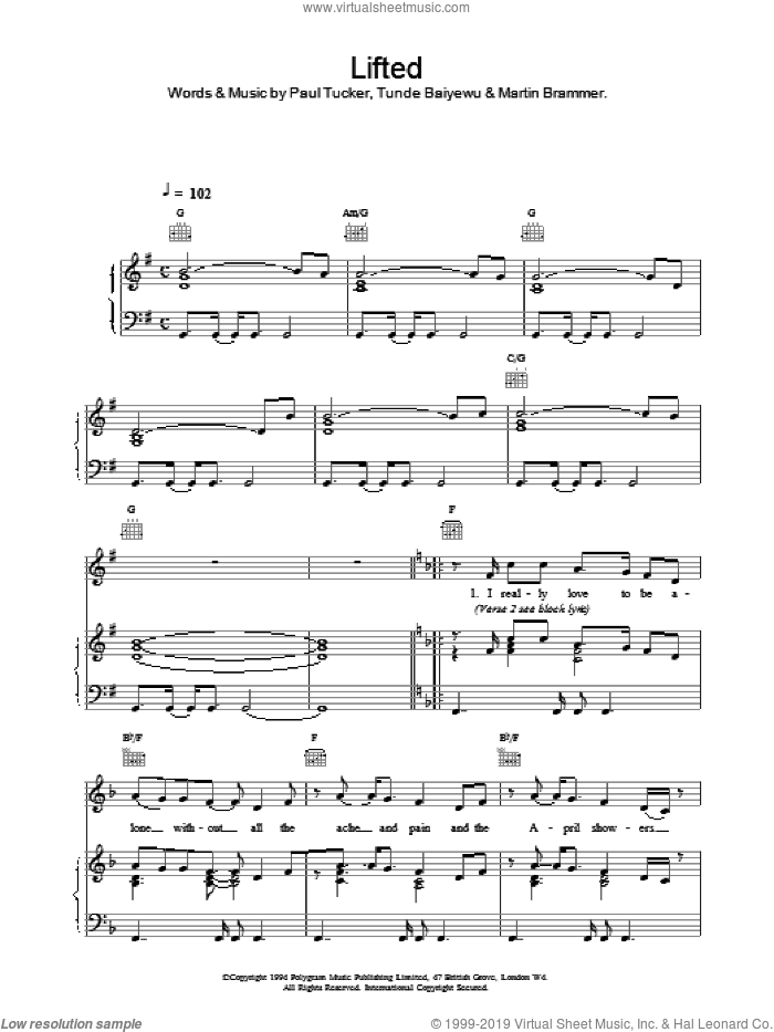 Lifted sheet music for voice, piano or guitar by Tunde Baiyewu & Martin Brammer Paul Tucker and Lighthouse Family. Score Image Preview.