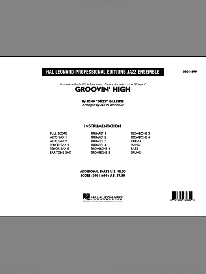 Groovin' High (COMPLETE) sheet music for jazz band by Dizzy Gillespie and John Wasson, intermediate. Score Image Preview.
