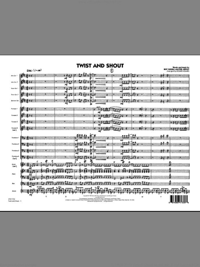 Twist And Shout (COMPLETE) sheet music for jazz band by Roger Holmes and The Beatles, intermediate jazz band. Score Image Preview.