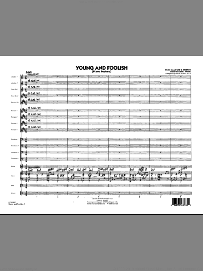 Young And Foolish (COMPLETE) sheet music for jazz band by Albert Hague, Arnold B. Horwitt and Frank Mantooth, intermediate. Score Image Preview.