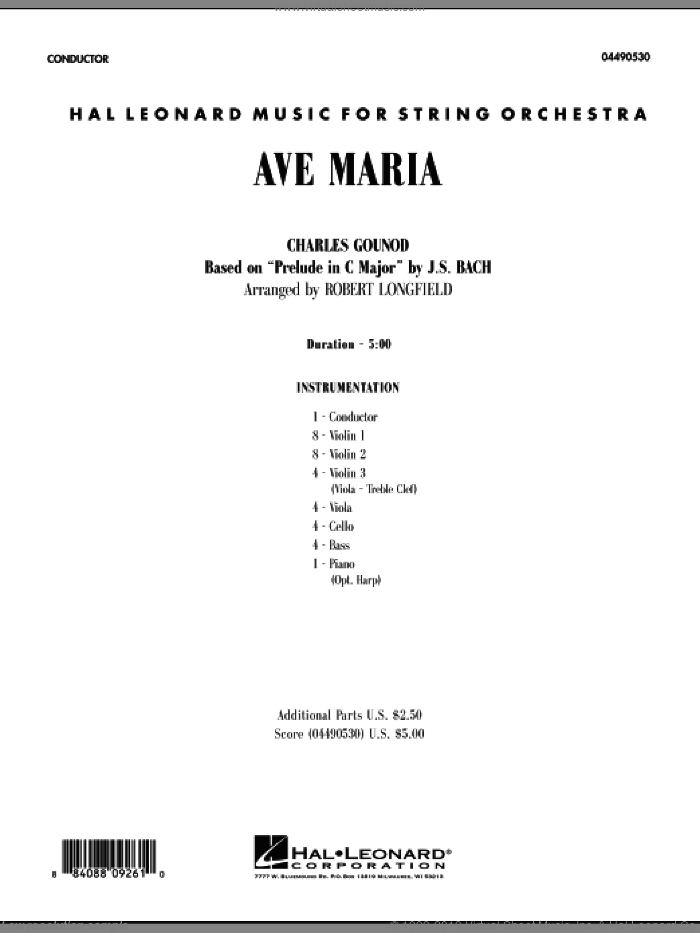 Ave Maria (COMPLETE) sheet music for orchestra by Johann Sebastian Bach, Charles Gounod and Robert Longfield, intermediate