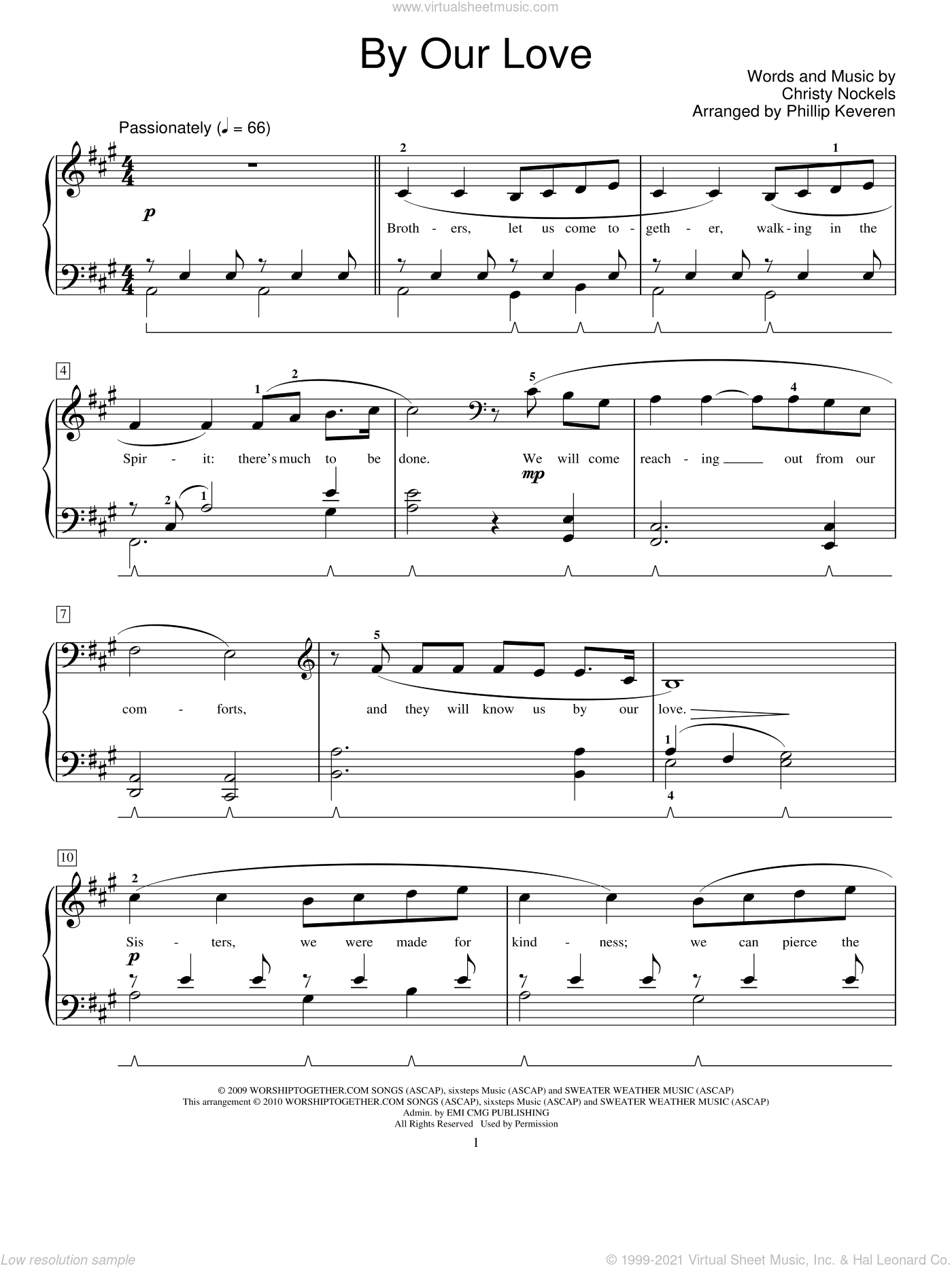 By Our Love sheet music for piano solo (elementary) by Christy Nockels, Phillip Keveren and Miscellaneous, beginner piano (elementary)