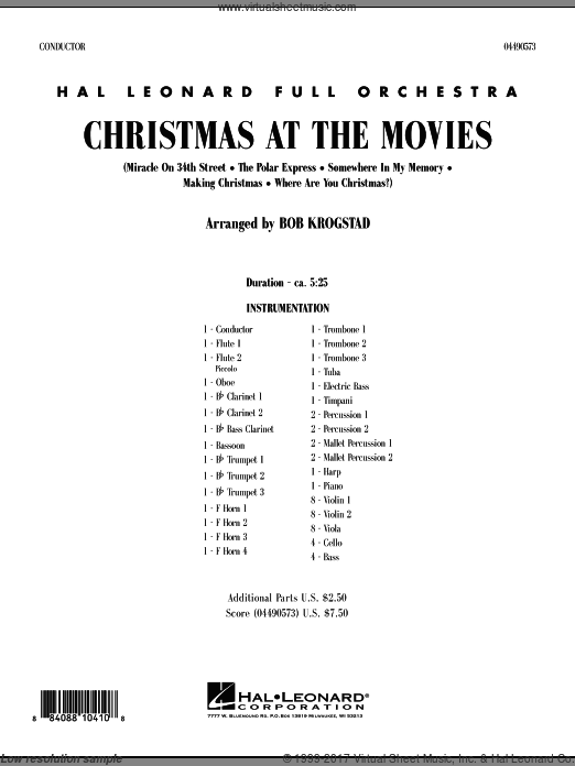 Christmas At The Movies (COMPLETE) sheet music for full orchestra by Bob Krogstad, intermediate. Score Image Preview.