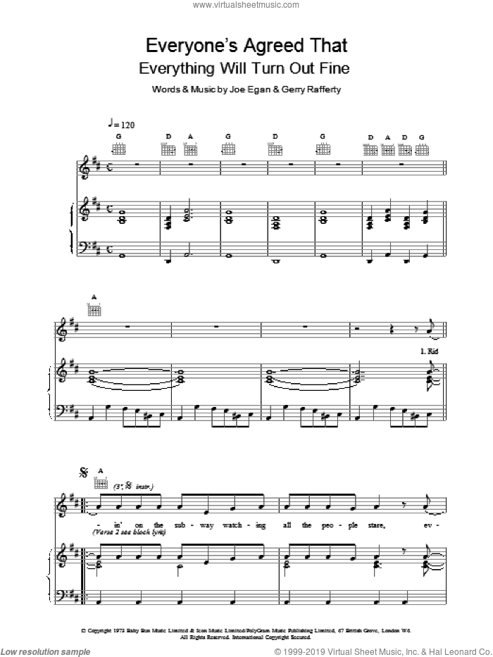 Everyone's Agreed That Everything Will Turn Out Fine sheet music for voice, piano or guitar by Joe Egan and Gerry Rafferty. Score Image Preview.