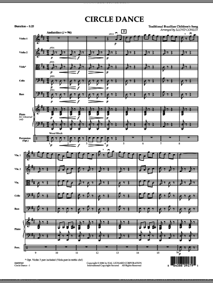 Circle Dance (COMPLETE) sheet music for orchestra by Lloyd Conley and Miscellaneous, intermediate orchestra. Score Image Preview.