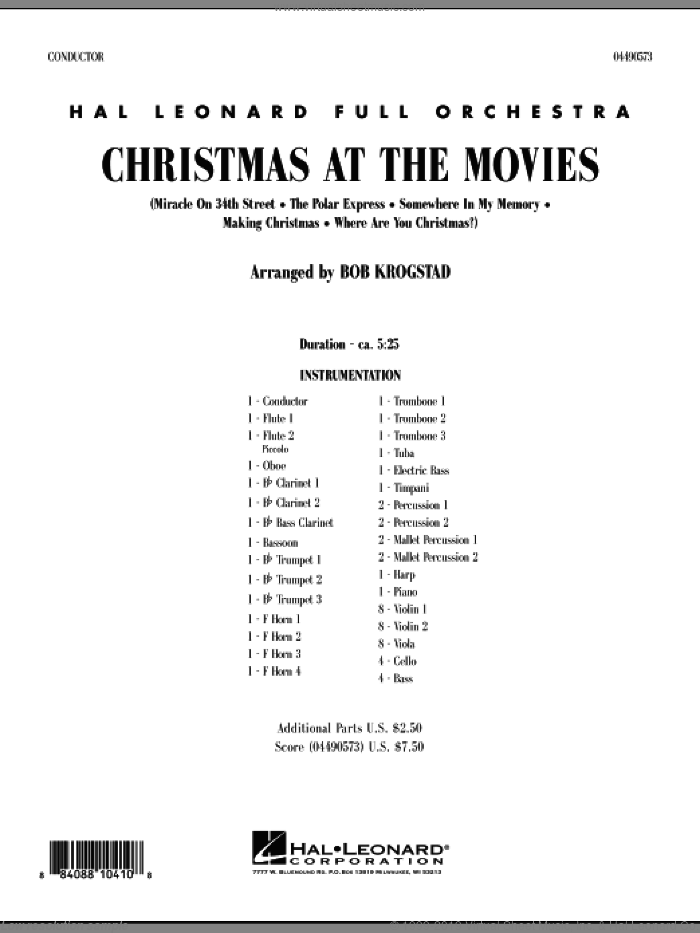 Christmas At The Movies (COMPLETE) sheet music for full orchestra by Bob Krogstad, intermediate skill level