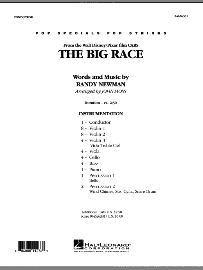 The Big Race (from Cars) (COMPLETE) sheet music for orchestra by James Taylor, John Moss and Randy Newman, intermediate skill level