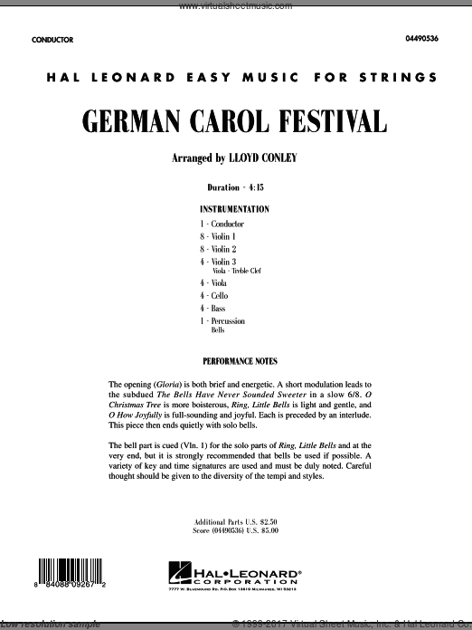 German Carol Festival (COMPLETE) sheet music for orchestra by Lloyd Conley