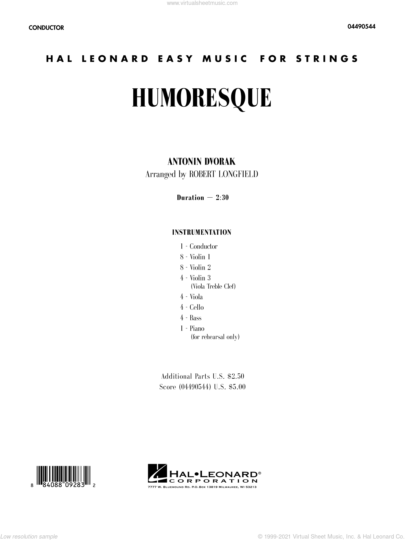 Humoresque sheet music for orchestra (full score) by Antonin Dvorak