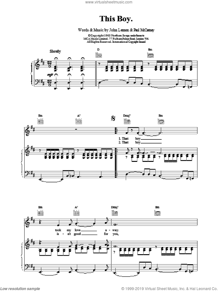 This Boy (Ringo's Theme) sheet music for voice, piano or guitar by The Beatles, intermediate