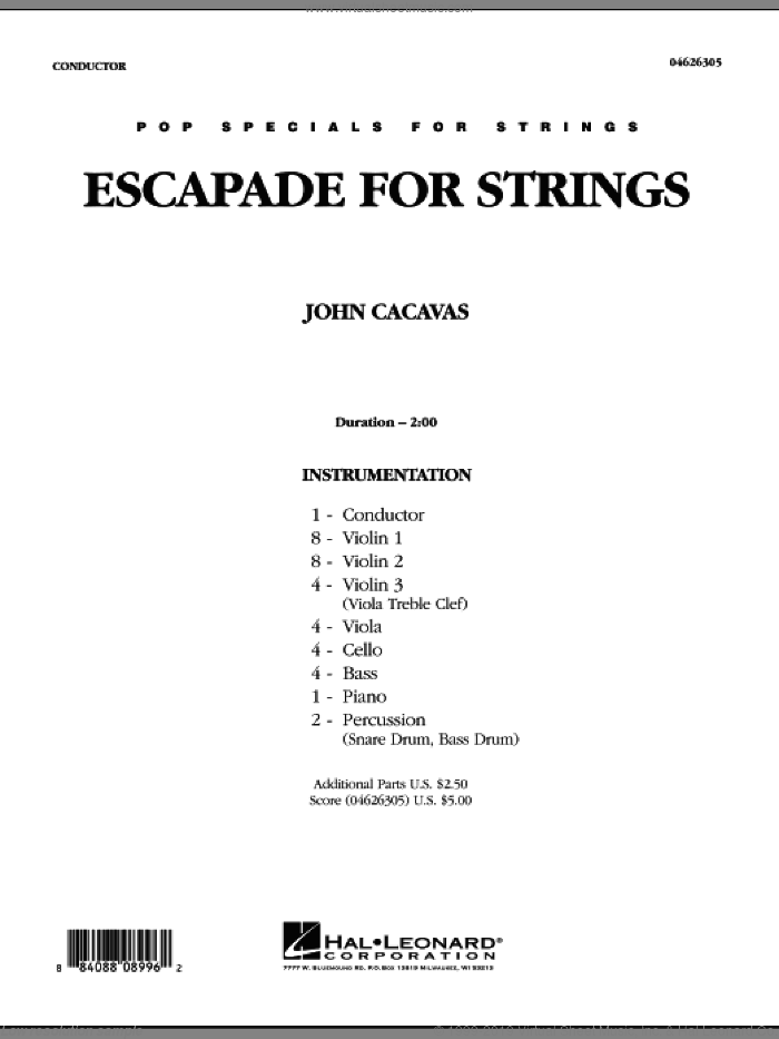 Escapade for Strings sheet music for orchestra (full score) by John Cacavas