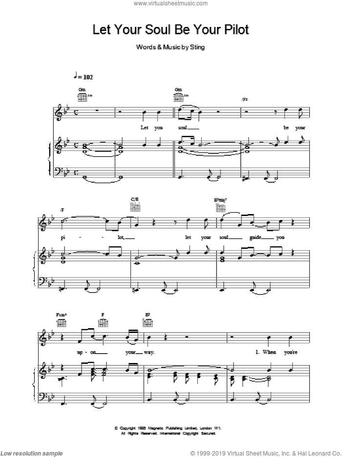 Let Your Soul Be Your Pilot sheet music for voice, piano or guitar by Sting. Score Image Preview.