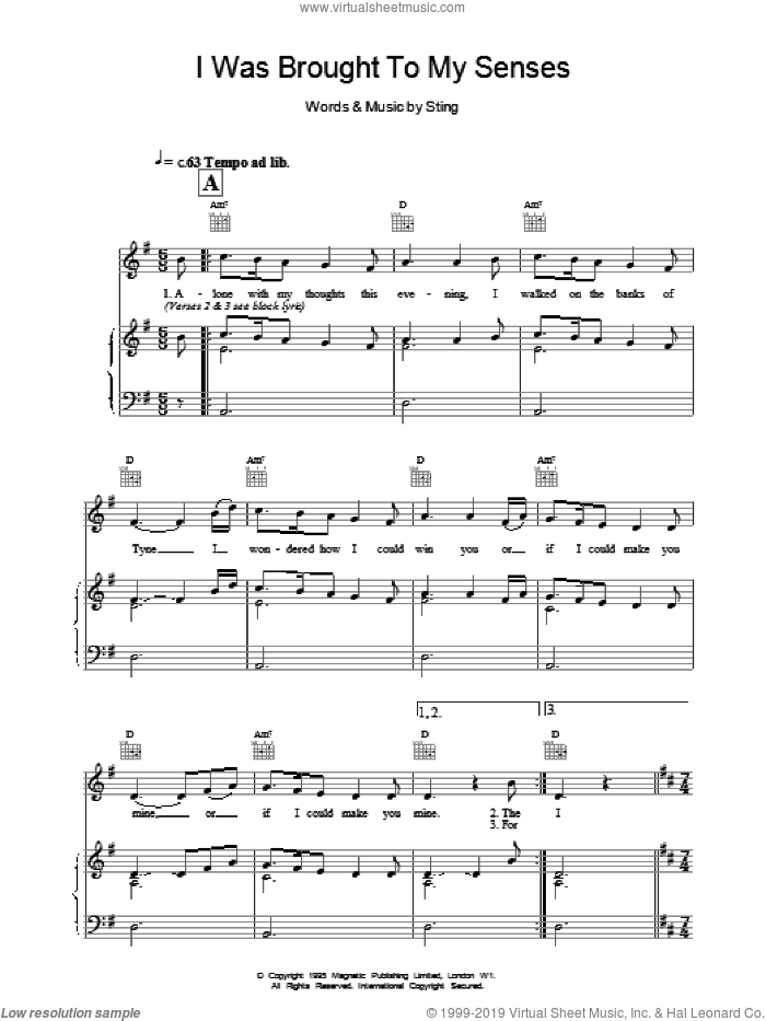 I Was Brought To My Senses sheet music for voice, piano or guitar by Sting. Score Image Preview.