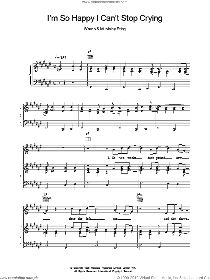 I'm So Happy I Can't Stop Crying sheet music for voice, piano or guitar by Sting. Score Image Preview.