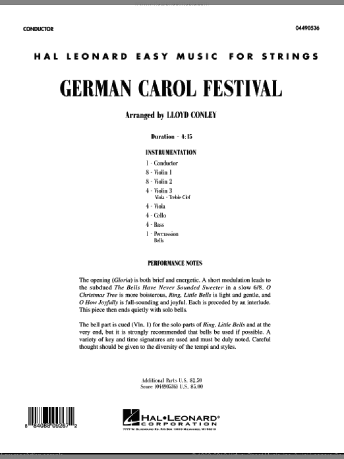 German Carol Festival (COMPLETE) sheet music for orchestra by Lloyd Conley, Christmas carol score, intermediate orchestra. Score Image Preview.