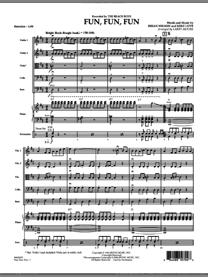 Fun, Fun, Fun (COMPLETE) sheet music for orchestra by Brian Wilson, Mike Love, Larry Moore and The Beach Boys, intermediate skill level