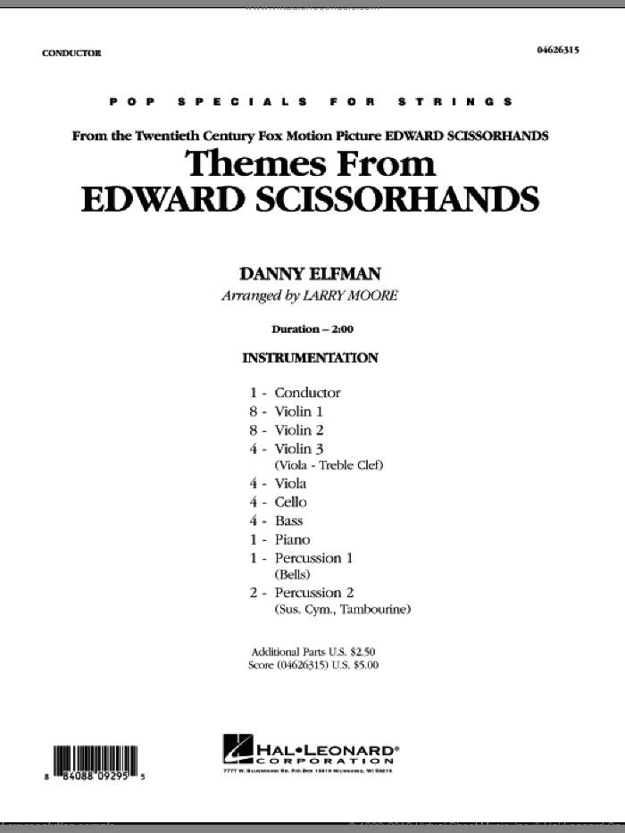 Themes from Edward Scissorhands (COMPLETE) sheet music for orchestra by Danny Elfman and Larry Moore, intermediate orchestra. Score Image Preview.
