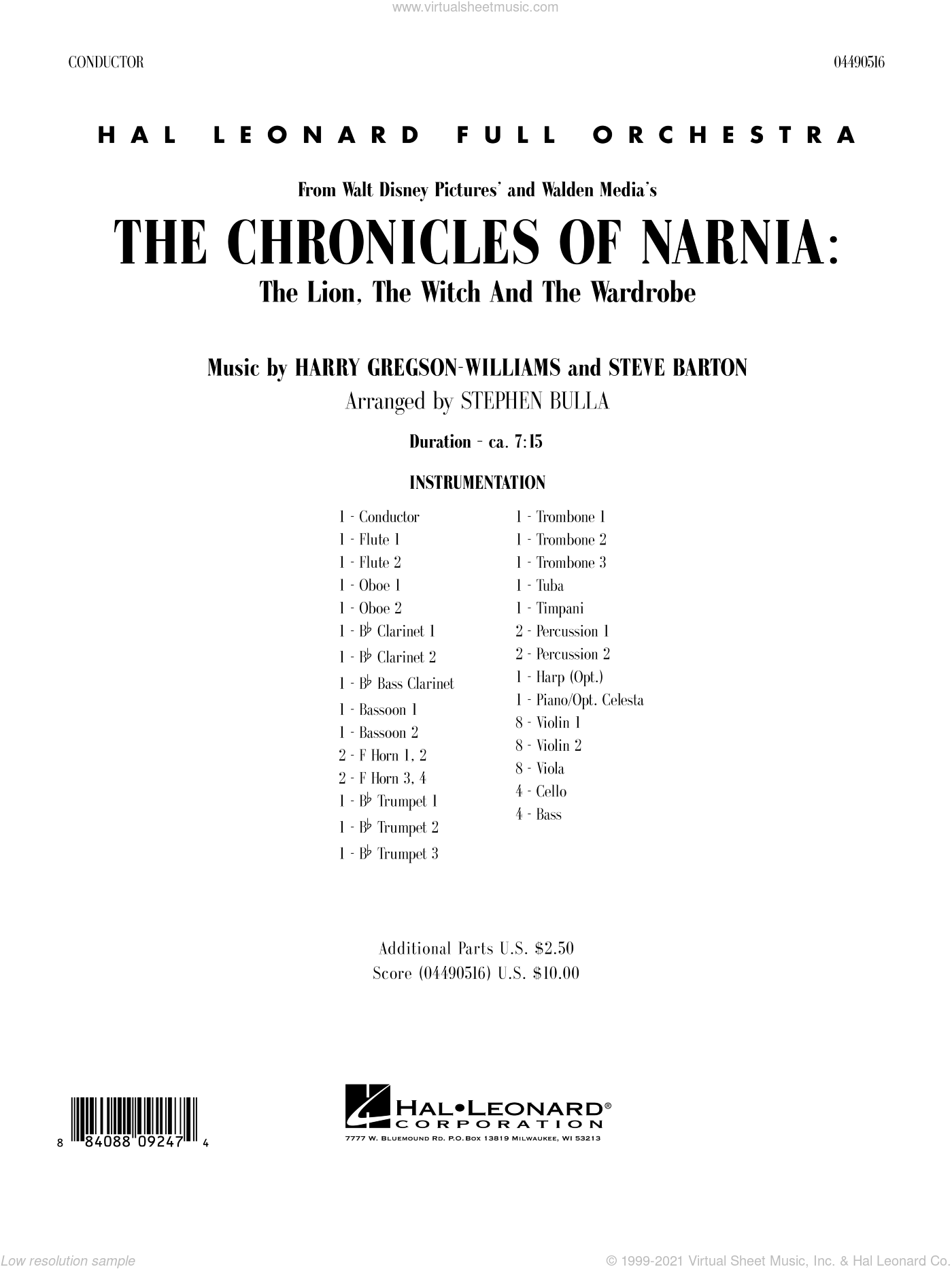 Music from The Chronicles Of Narnia: The Lion, The Witch And The Wardrobe sheet music for full orchestra (full score) by Harry Gregson-Williams
