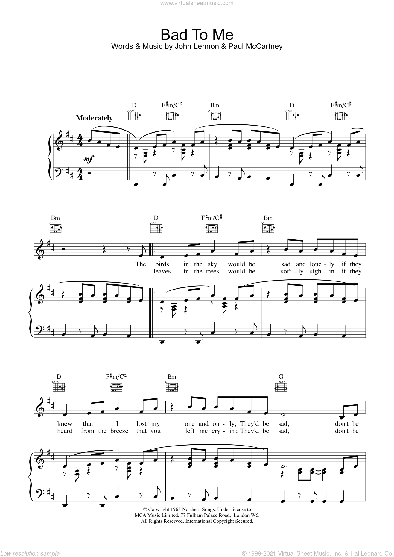 Bad To Me sheet music for voice, piano or guitar by The Beatles and Paul McCartney, intermediate voice, piano or guitar. Score Image Preview.