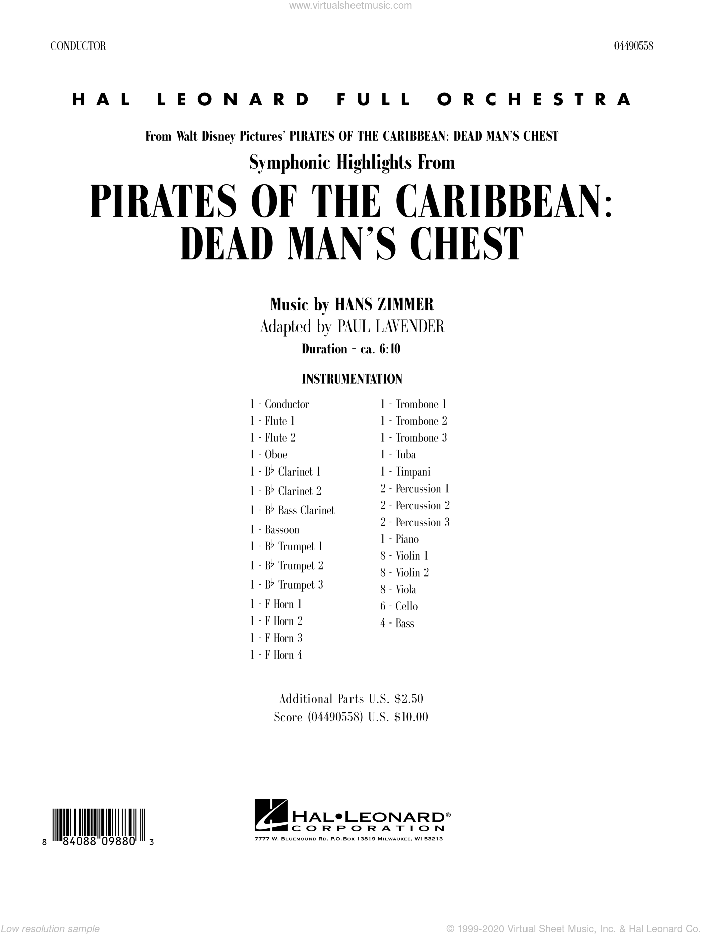 Soundtrack Highlights from Pirates Of The Caribbean: Dead Man's Chest sheet music for full orchestra (full score) by Hans Zimmer