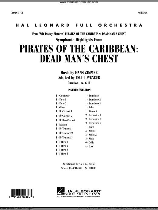 Soundtrack Highlights from Pirates Of The Caribbean: Dead Man's Chest (COMPLETE) sheet music for full orchestra by Hans Zimmer