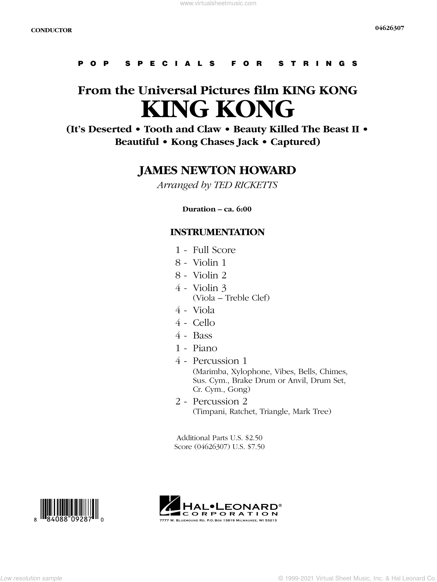 King Kong sheet music for orchestra (full score) by James Newton Howard