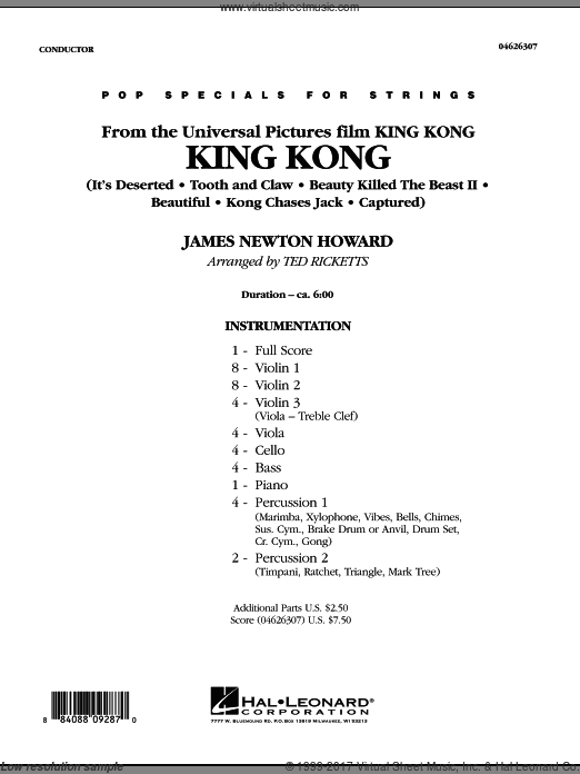 King Kong (COMPLETE) sheet music for orchestra by James Newton Howard