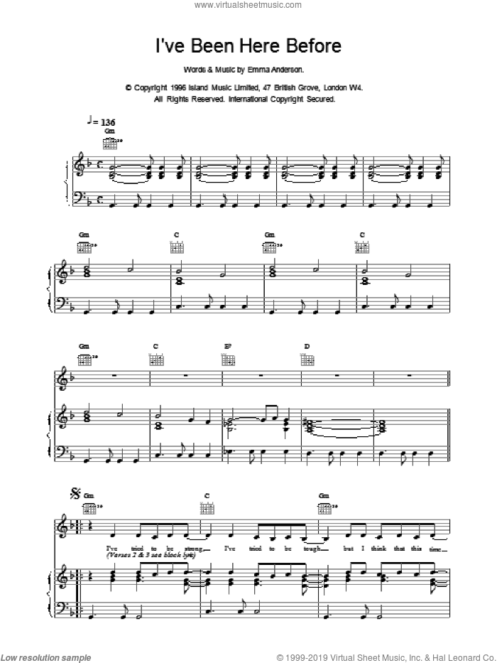 I've Been Here Before sheet music for voice, piano or guitar by EMMA ANDERSON