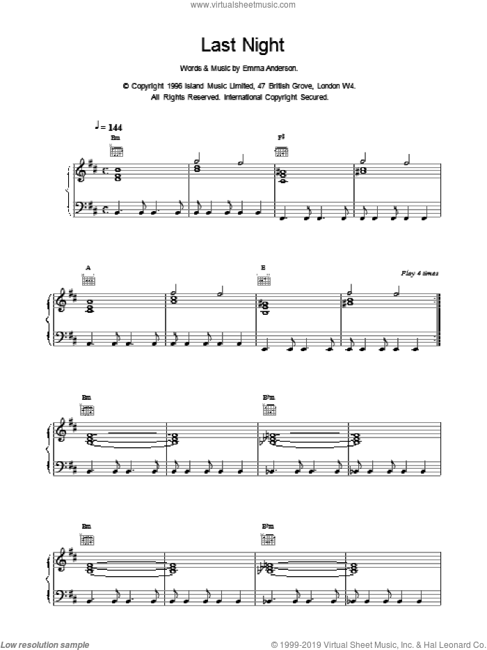 Last Night sheet music for voice, piano or guitar by EMMA ANDERSON