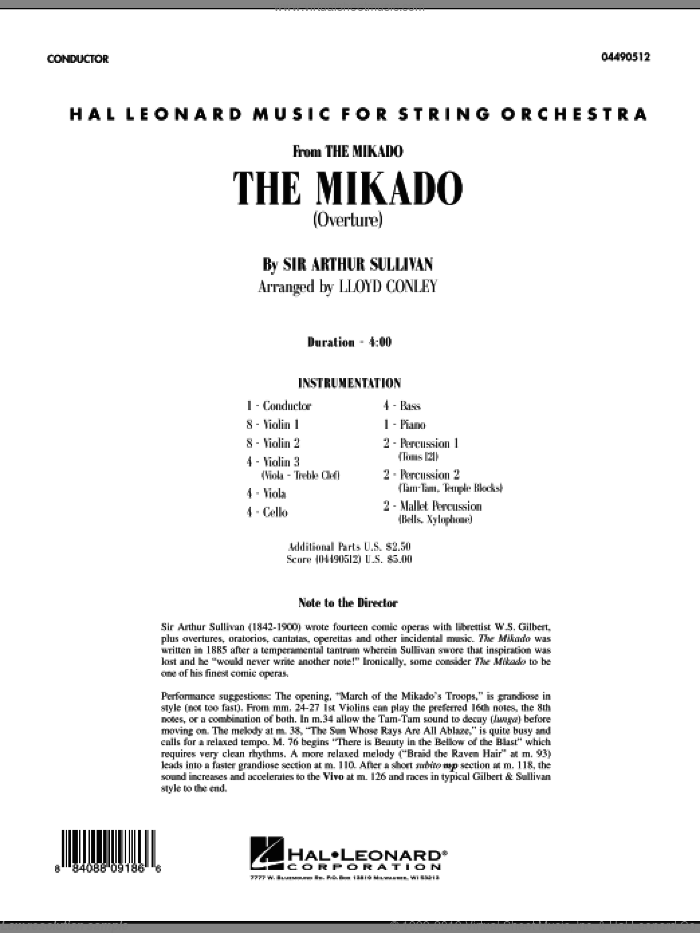 The Mikado (Overture) (COMPLETE) sheet music for orchestra by Arthur Sullivan and Lloyd Conley, intermediate. Score Image Preview.
