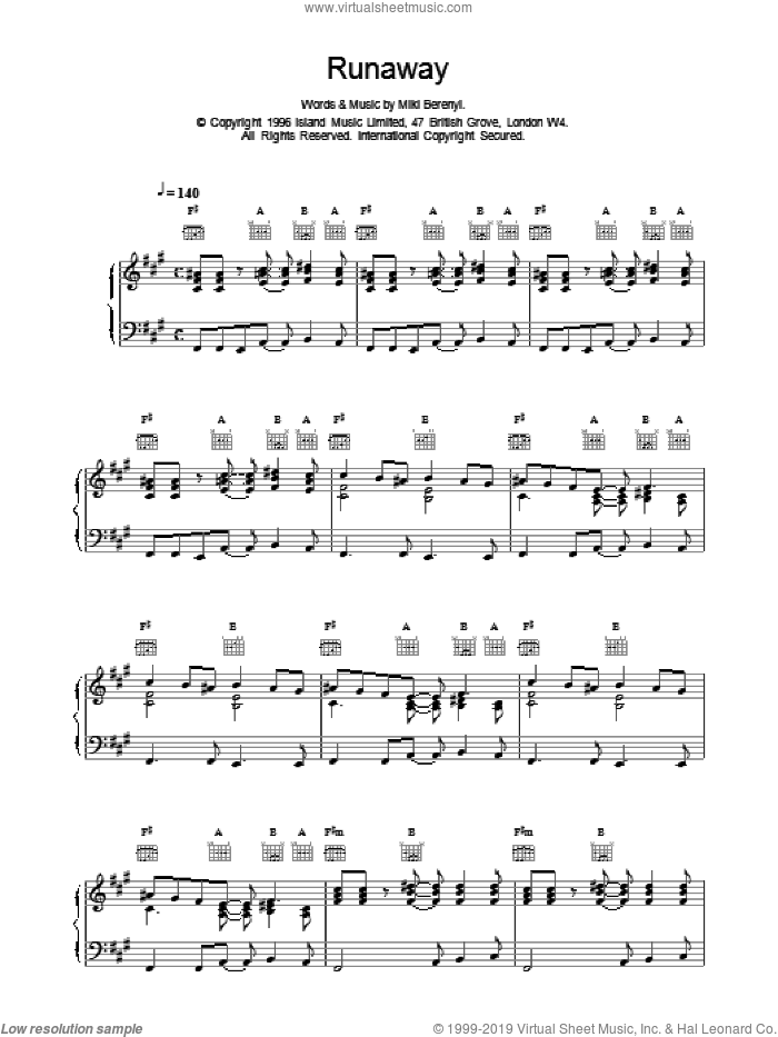 Runaway sheet music for voice, piano or guitar by Miki Berenyi and Emma Anderson. Score Image Preview.