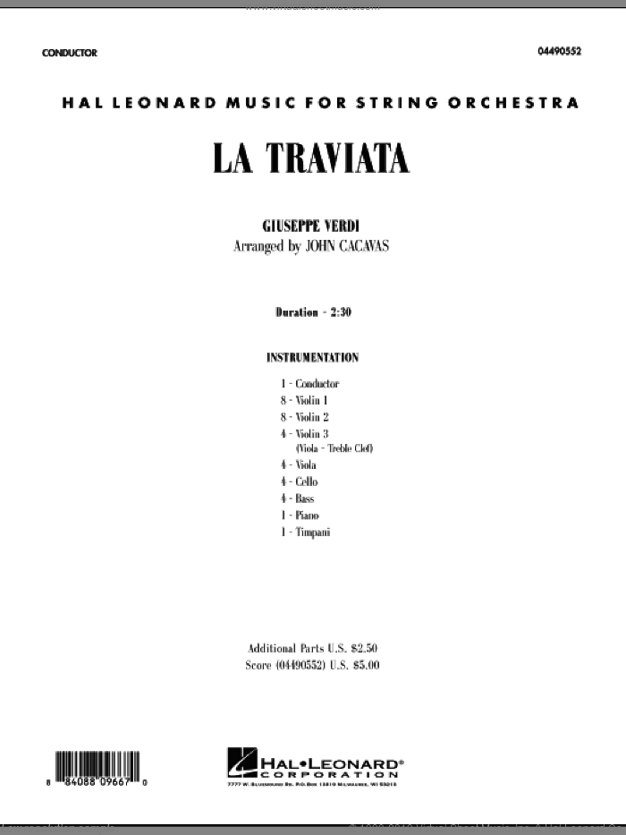 La Traviata (COMPLETE) sheet music for orchestra by Giuseppe Verdi and John Cacavas, classical score, intermediate. Score Image Preview.