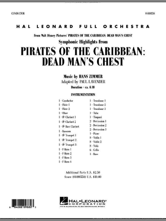 Soundtrack Highlights from Pirates Of The Caribbean: Dead Man's Chest (COMPLETE) sheet music for full orchestra by Hans Zimmer and Paul Lavender, intermediate. Score Image Preview.