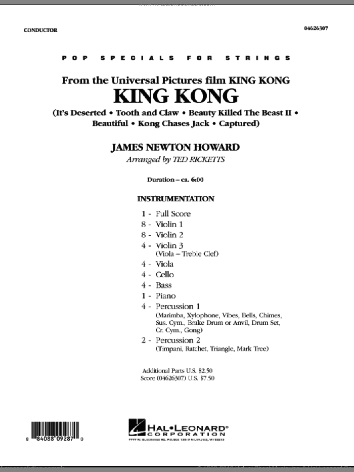 King Kong (COMPLETE) sheet music for orchestra by James Newton Howard and Ted Ricketts, intermediate skill level