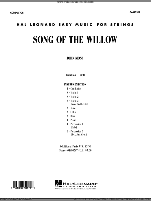 Song Of The Willow (COMPLETE) sheet music for orchestra by John Moss